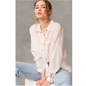 UO BDG Pink Striped Twill Button-Down Shirt Sz S